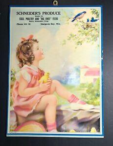 Pin Up Girl Art Calendar 1938 Devorss Hansen Florist Two Rivers Wisconsin Wisc