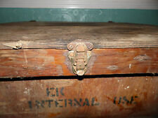 Vintage Antique Handmade  Primative Wood Trunk Tool Chest Square Table Medici