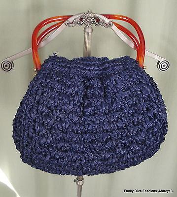 Vintage 40's 50's Morris Moskowitz Blue Raffia Handbag Interlock  Lucite Handles