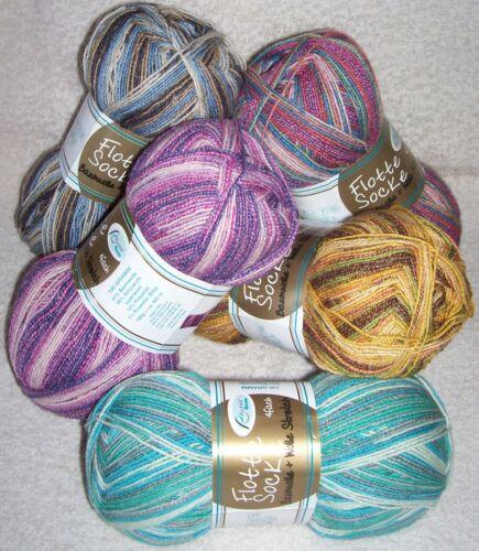 Muster 5,50€ //100 gr RELLANA Sockenwolle Baumwolle+Wolle Stretch neue Farben