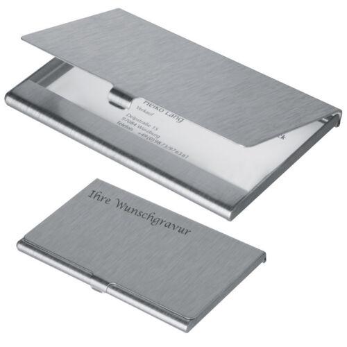 Visitenkartenetui mit Gravur aus Aluminium Farbe grau//silbergrau