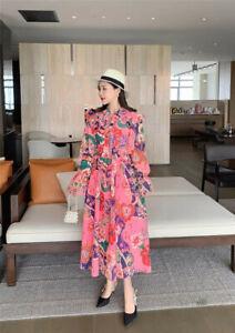 Zimmermann Ladies Maxi Floral Collared V Neck Ruffles Puff Sleeve Shirt Dress
