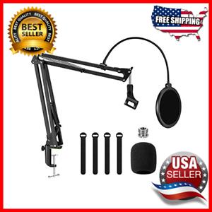 Microphone-Arm-Stand-Adjustable-Suspension-Boom-Scissor-Mic-Stand-Pop-Filter