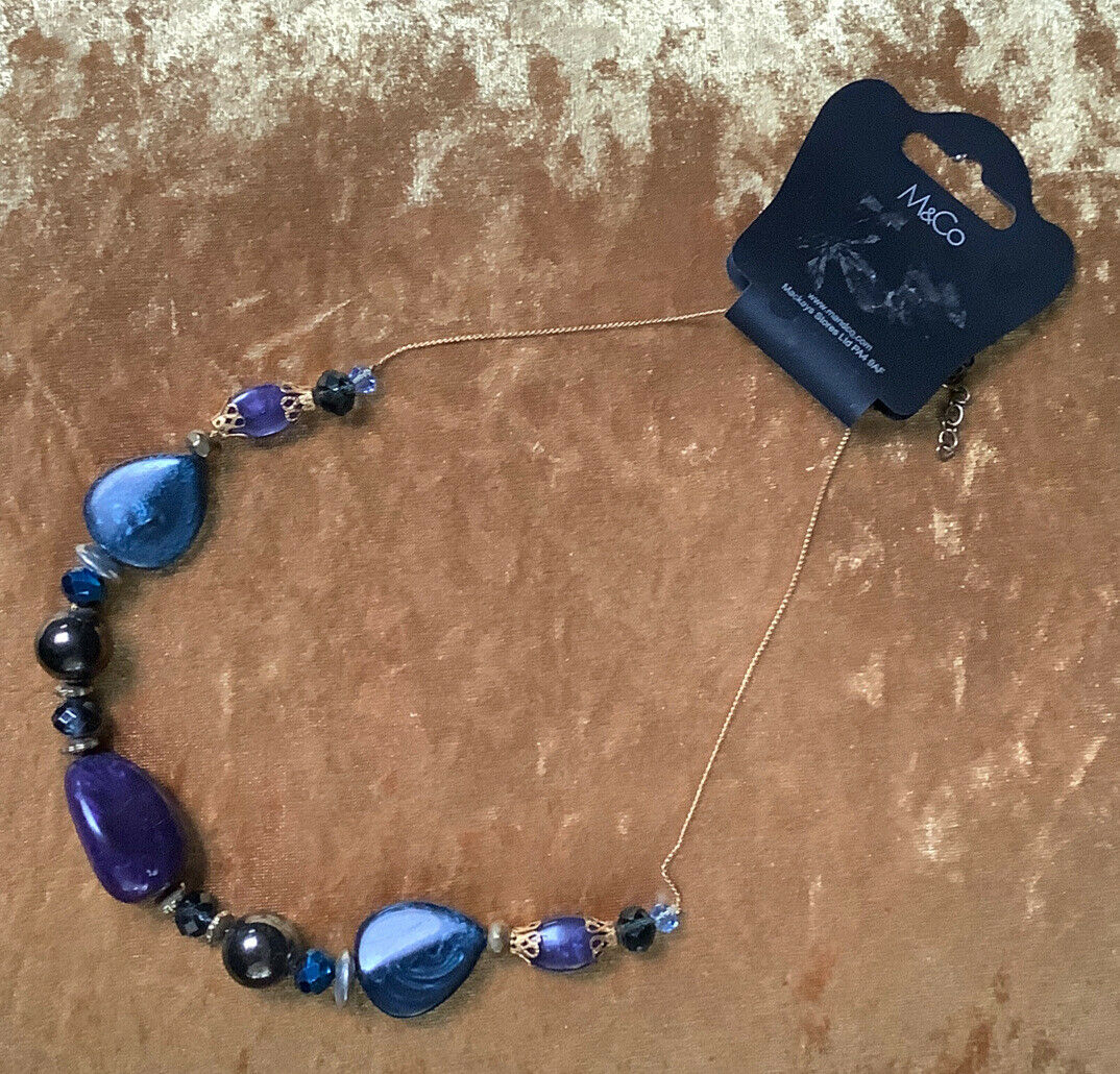M&Co Vintage Style Peacock Blue / Purple Beaded Necklace