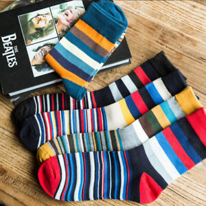 Family-Striped-Mens-Cotton-Colorful-Stripe-Casual-Dress-Soft-Ankle-Women-039-s-Socks