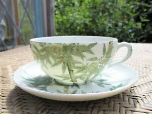 Vintage Japanese Eggshell Porcelain Cup & Saucer Painted Green Bamboo Gold