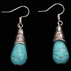 Fashion-Women-Jewelry-Blue-Turquoise-Charm-Tibetan-Silver-Drop-Dangle-Earrings