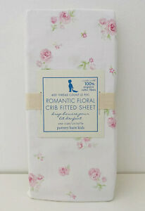 Pottery-Barn-Kids-Organic-Cotton-Romantic-Floral-Crib-Sheet-Pink-Roses-New