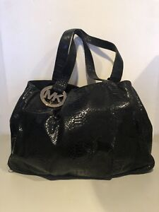 83de9308e9 Image is loading Michael-Kors-Fulton-Black-Python-Embossed-Leather-Hobo-