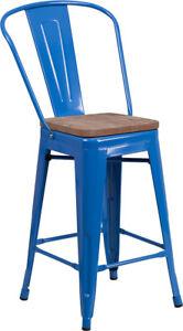 Awe Inspiring Details About 24 Industrial Style Blue Metal Counter Height Restaurant Stool With Wood Seat Inzonedesignstudio Interior Chair Design Inzonedesignstudiocom