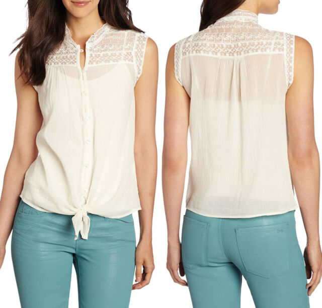 NWT LUCKY Brand Lace Button Tie Sleeveless L Large Off White Tunic Top NEW $79