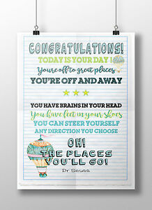 Oh the places youll go print christening nursery graduation gift image is loading 039 oh the places you 039 ll go solutioingenieria Image collections