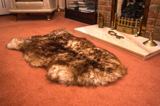 Spiced Brown XL British Genuine Natural Sheepskin Fur Rug