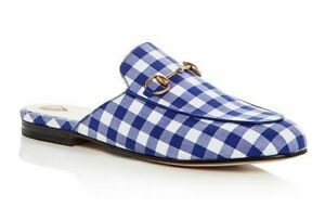 8173ccce3e5 Image is loading Gucci-Princetown-Blue-White-Plaid-Check-Slide-Loafer-
