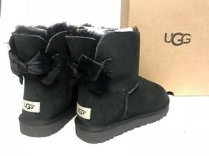 20fd519cc39 Details about Ugg Australia Mini Bailey Bow II Velvet Ribbon Black 1092972  Sheepskin Suede
