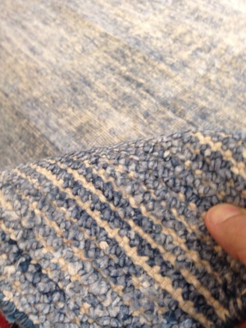 Area Rug Blue Texture Solid Flat Woven