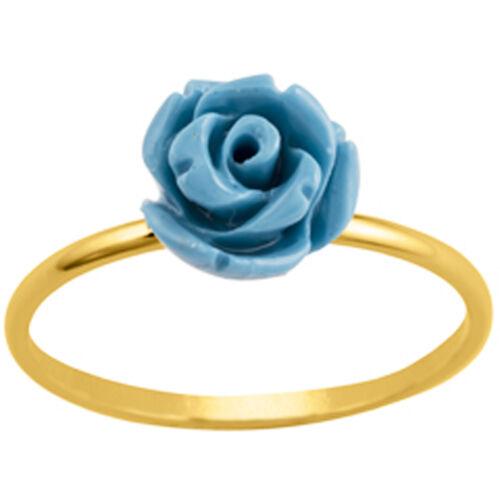 """Promo Bague plaqué or /""""Rosa Romantica/"""" turquoise doré 50/%"""