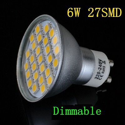 10× 6W 8W 9W LED Spot Light 27SMD Bulbs Dimmable Lamp GU10 MR16 Day Warm White