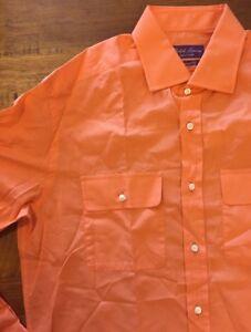 Ralph-Lauren-Purple-Label-Naranja-Sport-Camisa-Grande-Rrp-255