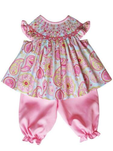 Baby Girls Pink Paisley Smocked Summer Bishop Dress Pants Set 18061