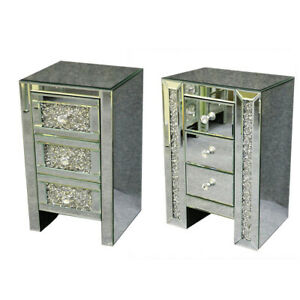 Mirrored Furniture Glass Crystal 3 Drawer Bedside Cabinet ...