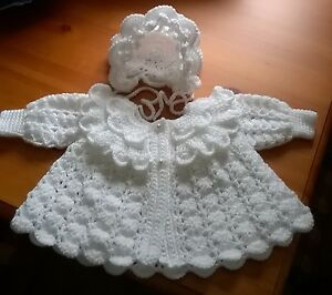 hand made crochet matinee  coat and bonnet  03 months - Gwent, United Kingdom - hand made crochet matinee  coat and bonnet  03 months - Gwent, United Kingdom