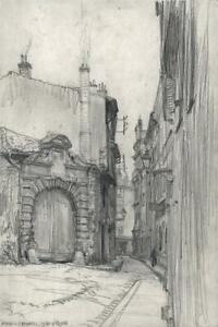 FRANK LEWIS EMANUEL (1865-1948) - Pencil Drawing STREET SCENE VIENNE FRANCE 1928