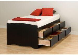 Details About Storage Platform Bed Twin Size Composite Wood Frame Freestanding Black Finish