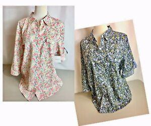 Croft-amp-Barrow-Women-039-s-Floral-Roll-Tab-Shirt-Size-Medium-and-XL-NWT-MSR-36