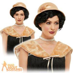 Ladies Beige Vintage Retro 20s Flapper TV Film Fancy Dress Costume Outfit Hat