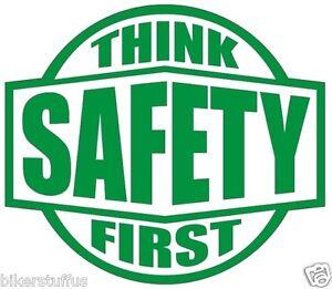 think safety first hard hat sticker green on white hard hat sticker