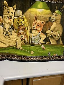 """Vintage Dogs Playing Poker Tapestry 52"""" x 39"""" Man Cave Wall Hanging Velvet Like"""