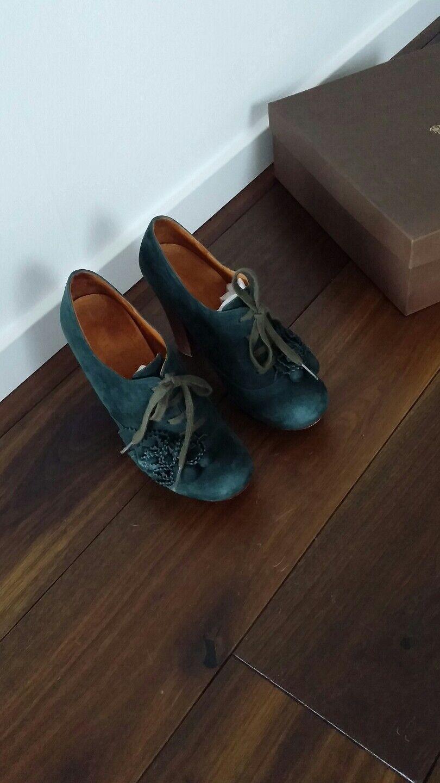 11,5cm Chie Mihara grün 39,5 Wildleder Pumps Schuhe Blüten Impressionen