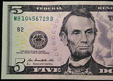 2013 $5 Five Dollar Bill, No Repeats Serial Number with 4567 Mini-Ladder, FRB B