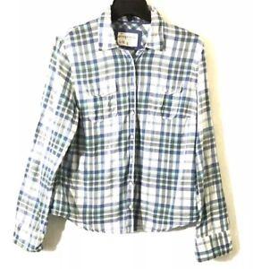 41649487 Aeropostale Women's XL Green White Blue Plaid Long Sleeve Button ...