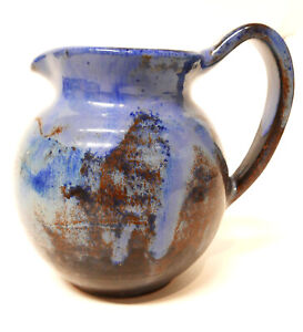 "Vintage Shearwater Pottery Drip Glaze Pitcher Cobalt Blue Glaze 5.5"" H"