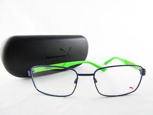 5a930accdb38 PUMA PE0012O 003 Optical Frame Metal Blue & Green Eyeglasses | eBay