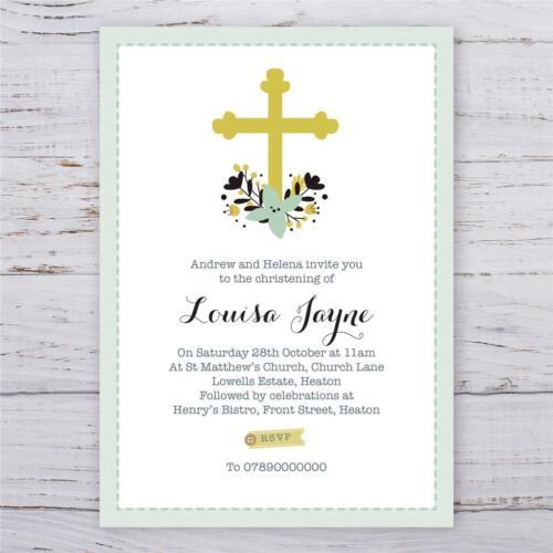 Personnalisé Baptême Baptême invitations fille ou garçon Cross