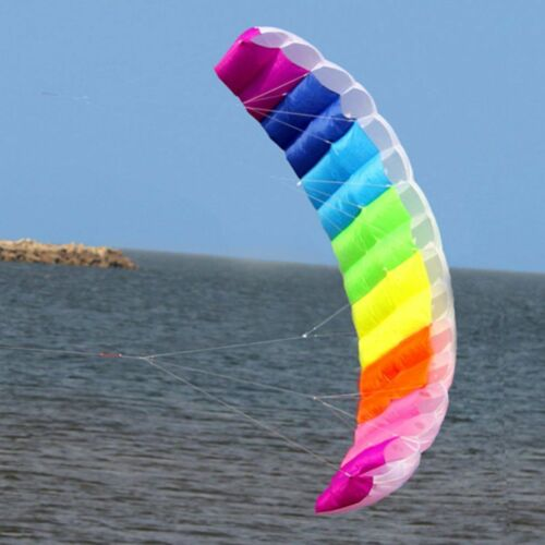 Rainbow Dual Line Flying Surfing Kite 2 7 Parachute Soft Para foil Huge Large O