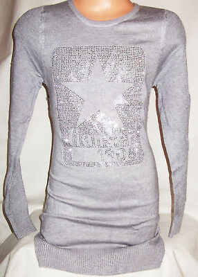 GIRLS GREY SPARKLY JEWEL DIAMONTE FUR TRIM CAT LOGO PARTY KNIT JUMPER DRESS TOP