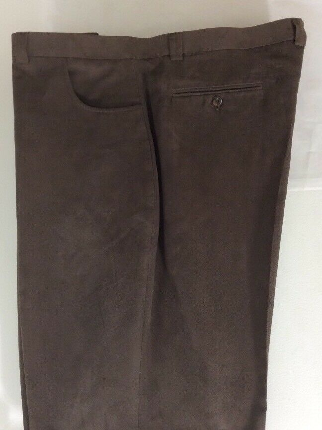 blue MARTINI FLAT FRONT 100% POLYESTER BROWN SUEDE FEEL PANTS MEN'S SIZE 47