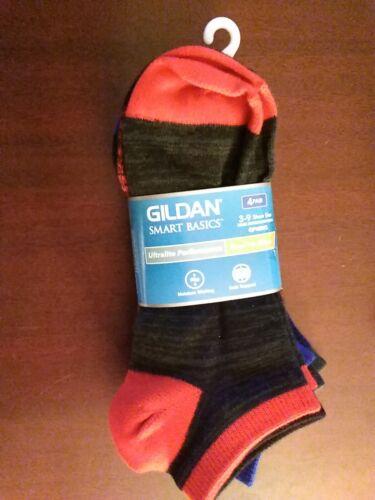 Gildan Boys size 3-9 Socks 4 pair No Show Black Blue Red  Arch Support NIP