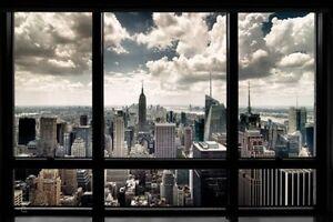 Poster-New-York-Blick-durch-Fenster-auf-Empire-State-Building-91-5-x-61-cm