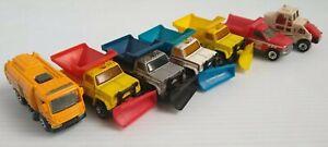Vintage-Highway-Maintenance-Trucks-Street-Cleaners-Vehicles-Lot-of-7-Matchbox