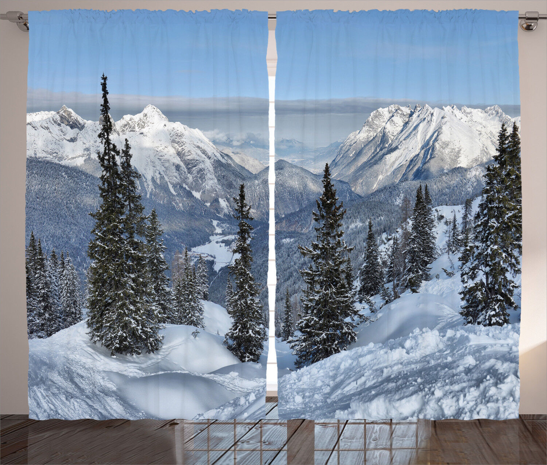 Cortinas De Ventana Montaña Bosque Nevado Invierno Cortinas 2 pulgadas Panel Set 108x90