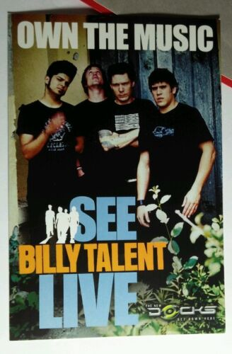SEE BILLY TALENT LIVE OWN THE PHOTO PROMO MUSIC 4X6 POSTCARD SM POSTER