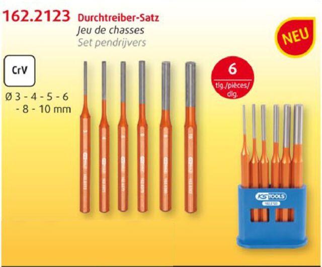 KS TOOLS Splintentreiber-Satz 6-tlg. Ø3-4-5-6-8-10m Splinttreiber Durchschläger