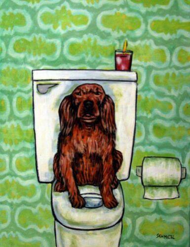 IRISH SETTER in the bathroom  dog art print 8x10 modern artwork gifts