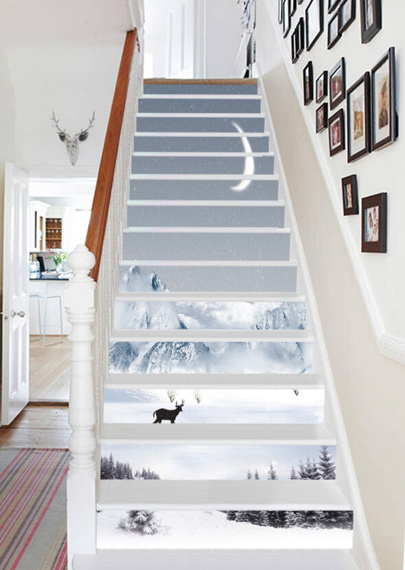 3D Snow Scenery 32 Stair Risers Decoration Photo Mural Vinyl Decal Wallpaper UK