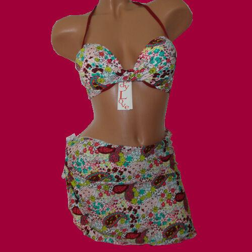 NEU 6028 3-teilig Push-Up Bikini mit Binderock